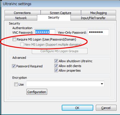 UltraVNCサーバの設定1
